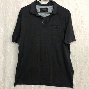 Ted Baker London dark gray s/s polo Sz 6 button